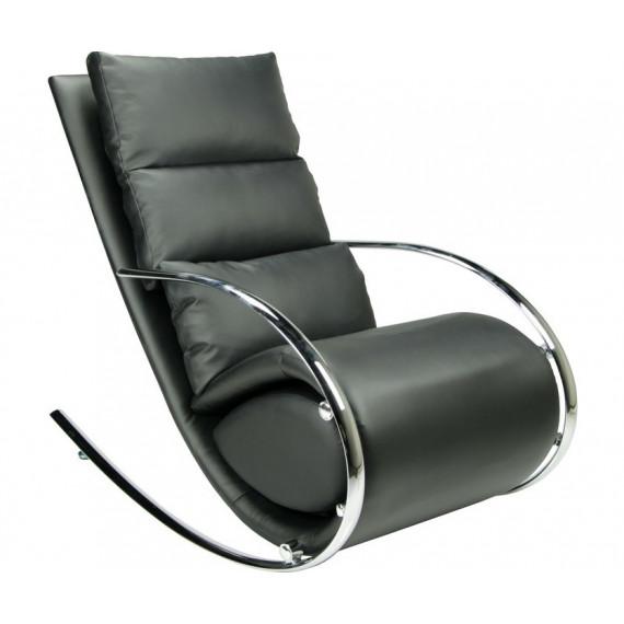 """MK-5503-BL. Кресло-качалка c пуфом """"Магнус"""" черный"""