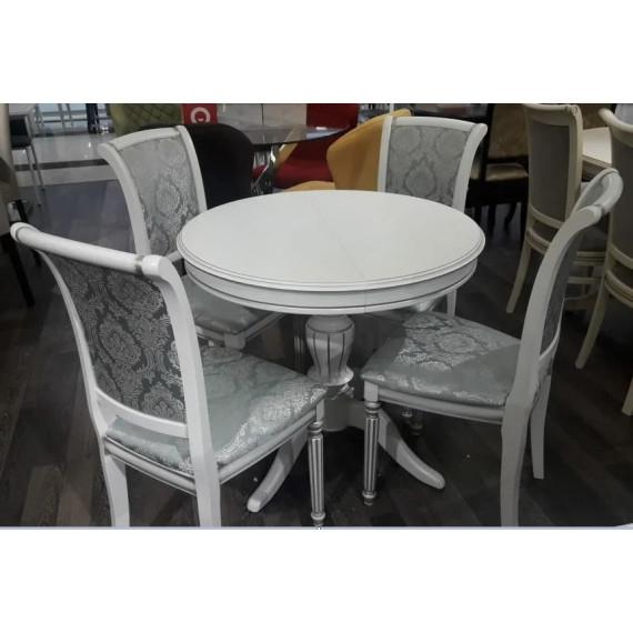 Стол обеденный Альт-1 Лайт белая эмаль с серебрянной патиной