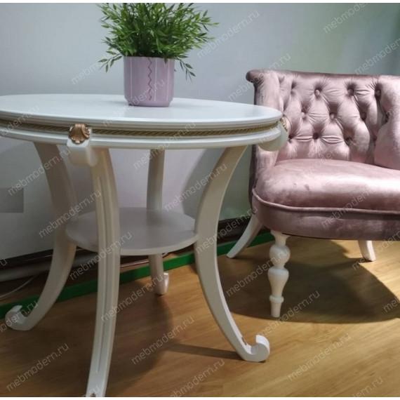 Комплект для гостиной 2 кресла Бархат и столик Глория М молочный дуб