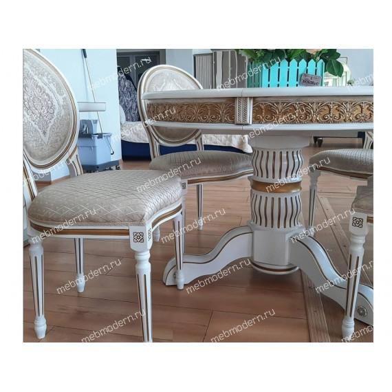 Деревянный стол Лорд молочный с золотой патиной
