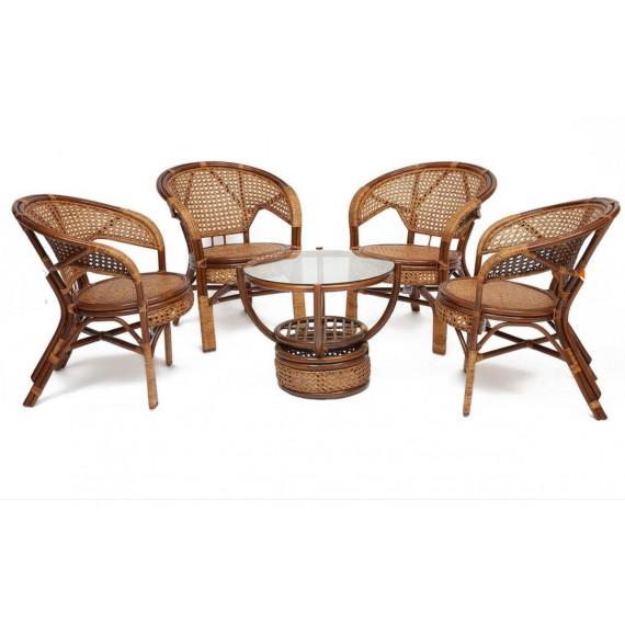 """Комплект """"PELANGI"""" 02/15 ( стол со стеклом + 4 кресла ) [без подушек] мед"""