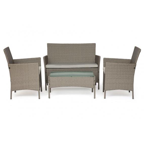 Лаундж сет (диван+2кресла+столик+подушки) (mod. 210013 А) светло-серый