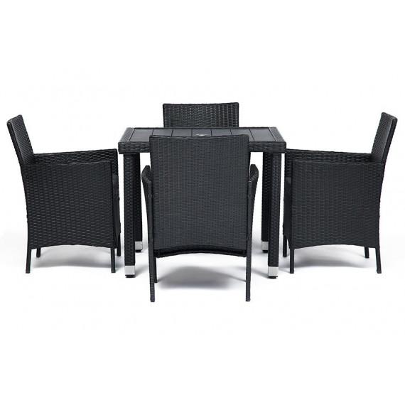 Обеденный сет (стол + 4 стула) (mod. 210036 Brown) (Коричневый)