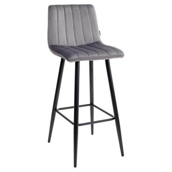 Барный стул DERRY G062-40 серый, велюр