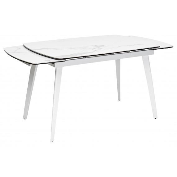 Стол ELIOT 120 MATTE STATUARIO Белый мрамор матовый, керамика/ белый каркас