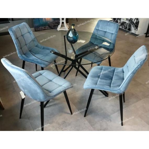 Обеденная группа Veneto/CHIC G108-56 пудровый синий, велюр