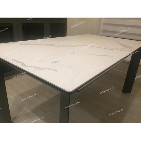 Стол CREMONA  MATTE STATUARIO Белый мрамор матовый, керамика/ черный каркас