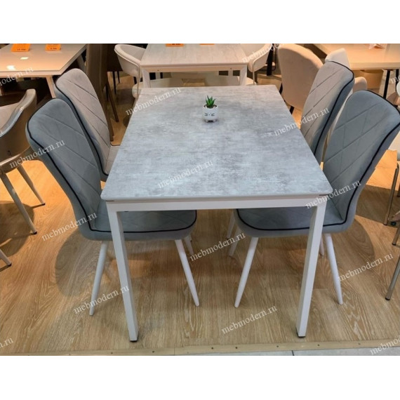 Обеденная группа E1300 белый - цемент + 4 стула 123 светло-серый V08