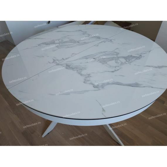 Стол TRENTO 120 HIGH GLOSS STATUARIO Белый мрамор глянцевый, керамика/ белый каркас