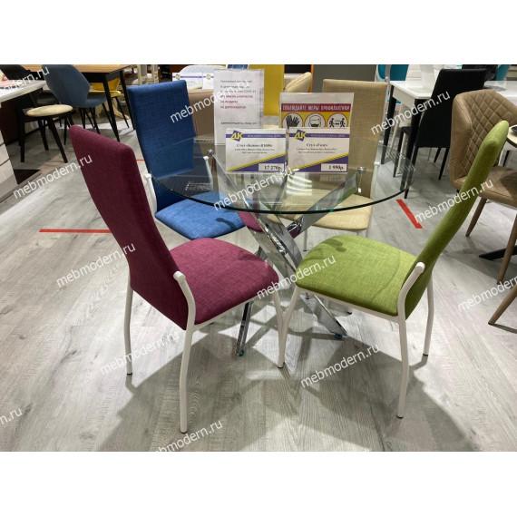 Обеденная группа Стол R1000 хром/стекло прозрачное и 4 стула ГАЛС ткань