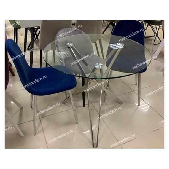 Обеденная группа RIGA и 4 стула PESCARA 829-10 синий, велюр