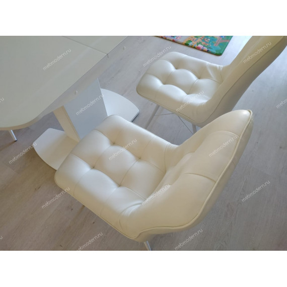 Обеденная группа Нотр-Дам Бордо стекло серое/белый каркас