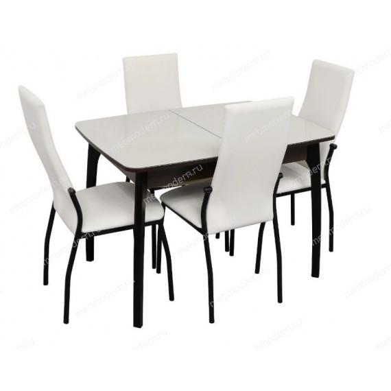 Обеденная группа Стол М15ДН4 и 4 стула Галс венге каркас/ст. белый, к/з белый