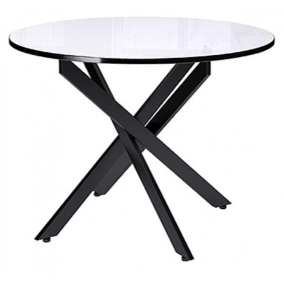 Стол Dikline RS90 стекло белое/ножки черный металл