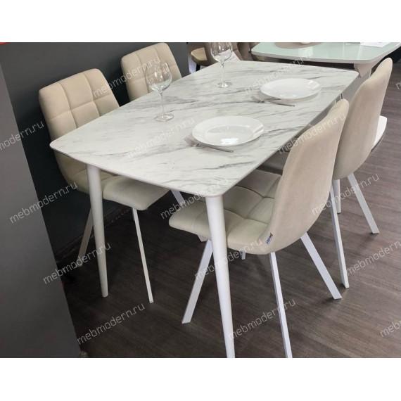 Стол W1250 белый/белый мрамор