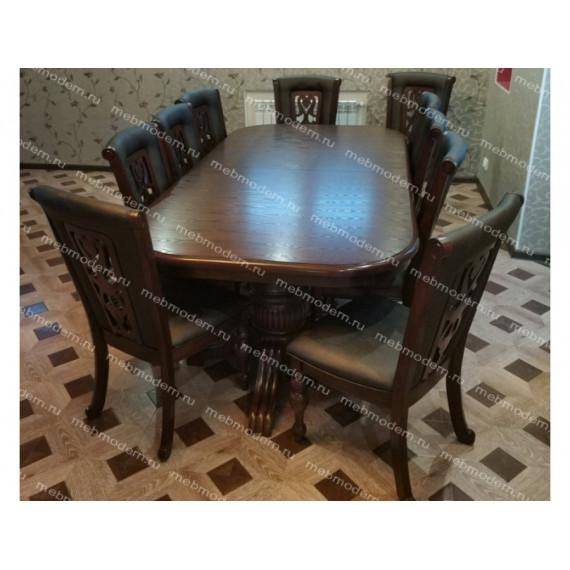 Обеденная группа стол LUSA/LUSA 2 и 8 стульев Light Walnut