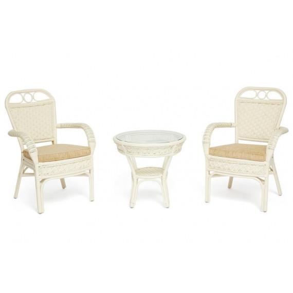 Комплект террасный «Andrea» (2 кресла с подушкой + 1 столик) TCH White (белый)
