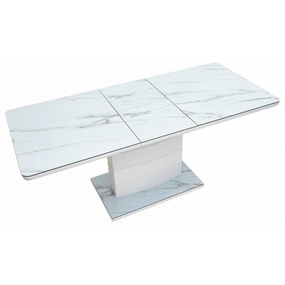 Стол ALTA 140 GREY-WHITE MARBLE/ WHITE глазурованное стекло