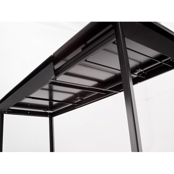 Стол CREMONA HIGH GLOSS STATUARIO Белый мрамор глянцевый, керамика/ черный каркас