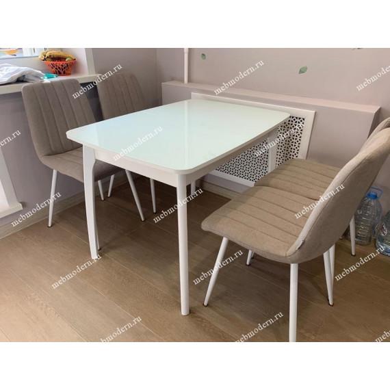 Обеденная группа Стол М15ДН4 и 4 стула Dublin белый каркас UF860-06B