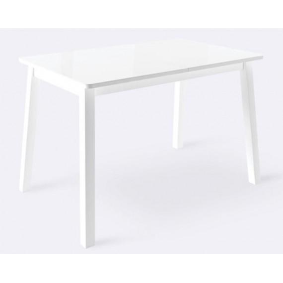 Стол ТИРК стекло белый/белый 110(140)х70
