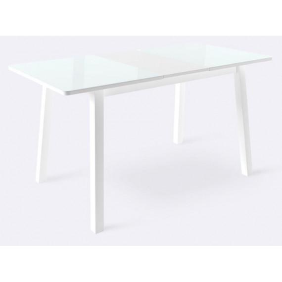 Стол ТИРК стекло белый/белый 130(175)х80