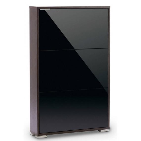 Обувница ВИВА-3 (Венге/Черное стекло)