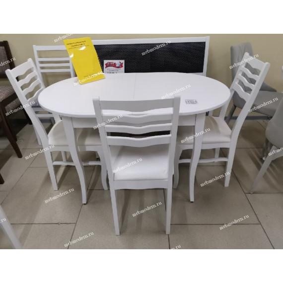 Обеденная группа стол Лемур и 4 стула М-16 белая эмаль кожзам 03