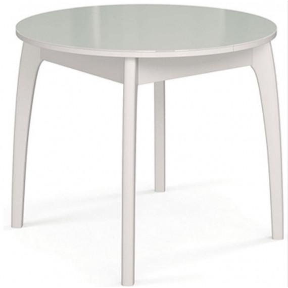 Стол обеденный №46 ДН4 белый/ стекло белое