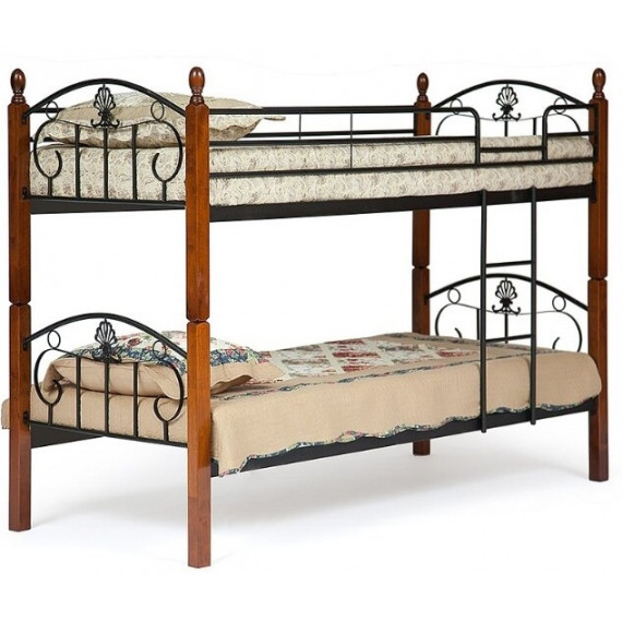Кровать двухъярусная BOLERO 90х200 см (bunk bed) красный дуб/черный