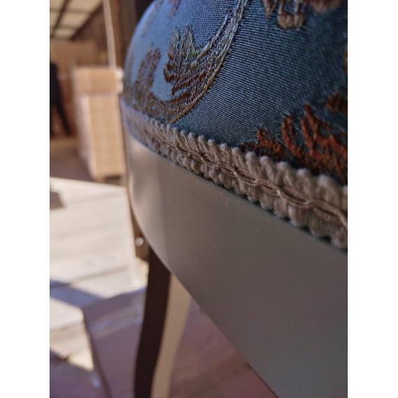 Кресло Милорд №12 (1013+патина золото/ткань Андрис бирюза Вензель) слоновая кость)