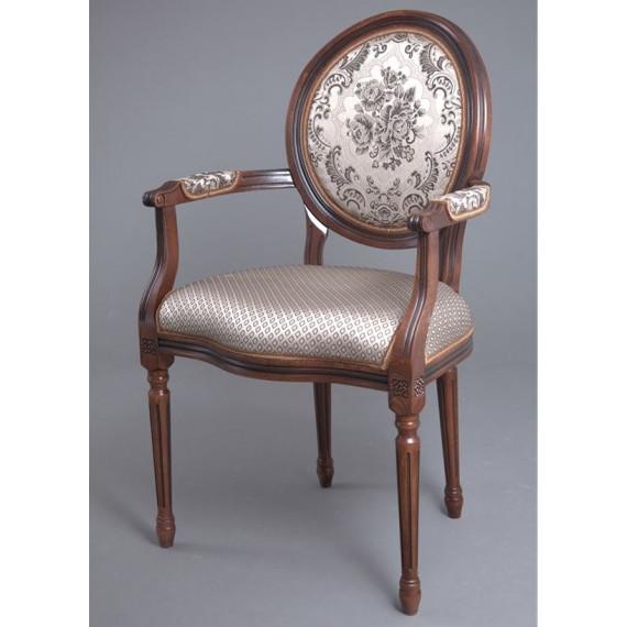 Кресло Милорд-15 (Темный орех+патина /ткань Luiza Mocco)