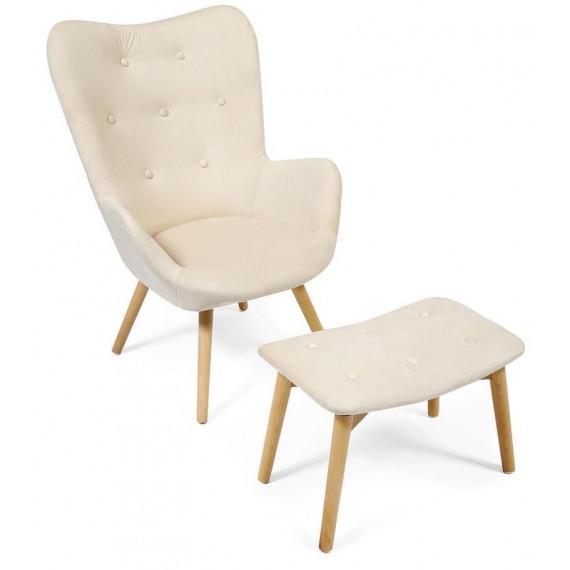 Кресло Secret De Maison Kontour с оттоманкой (mod.1534L) (бежевый)