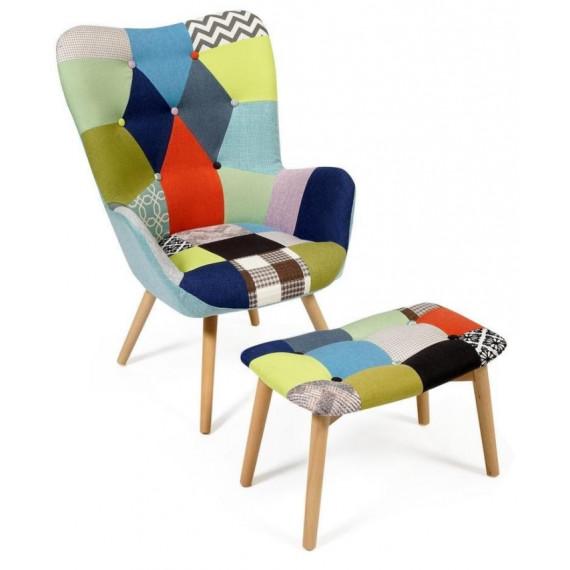 Кресло Secret De Maison Kontour с оттоманкой (mod.1534L) (мультицвет)
