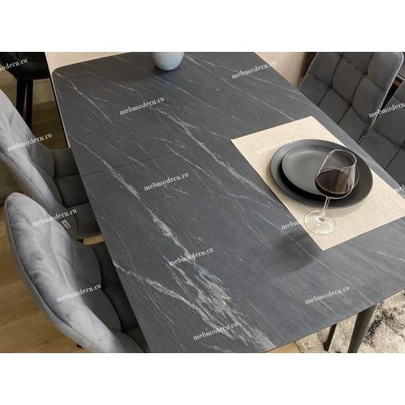 Стол W1250 черный/мрамор серый