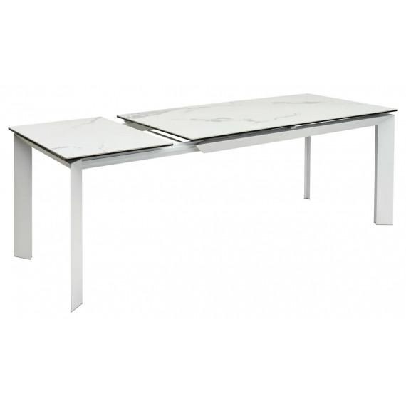 Стол CREMONA HIGH GLOSS STATUARIO Белый мрамор глянцевый, керамика/ белый каркас