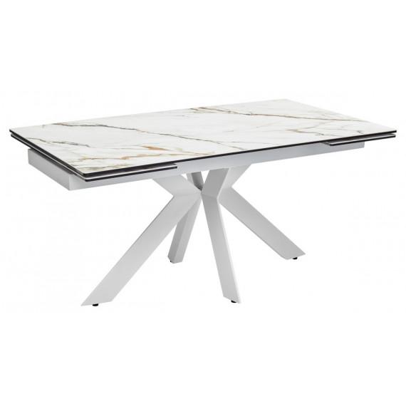 Стол BELLUNO 160 MARBLES KL-188 мрамор матовый, итальянская керамика/ белый каркас