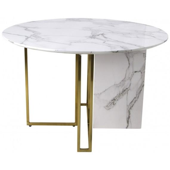 Стол Венера MK-6919-WM 120х120х76 см Белый мрамор+золото