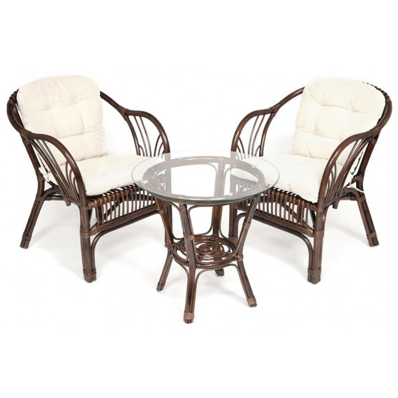 """ТЕРРАСНЫЙ КОМПЛЕКТ """"NEW BOGOTA"""" (2 кресла+стол) /с подушками/ walnut (грецкий орех)"""