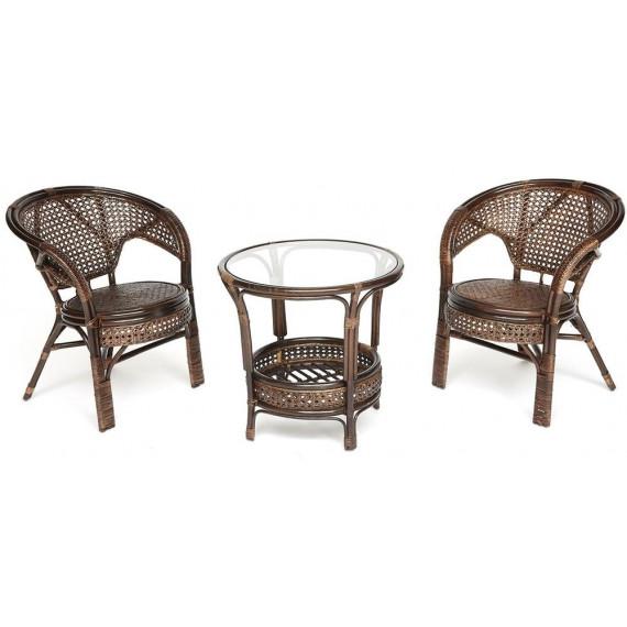 """ТЕРРАСНЫЙ КОМПЛЕКТ """"PELANGI"""" (стол со стеклом + 2 кресла) /без подушек/ walnut"""