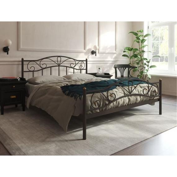 Кровать Глэдис с изножьем (140х200, коричневый бархат)