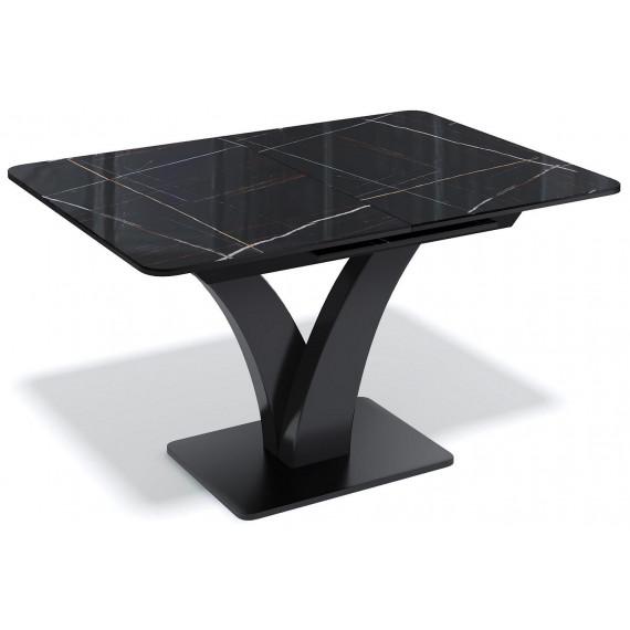 Стол BP1200 черный/ стекло камень черный