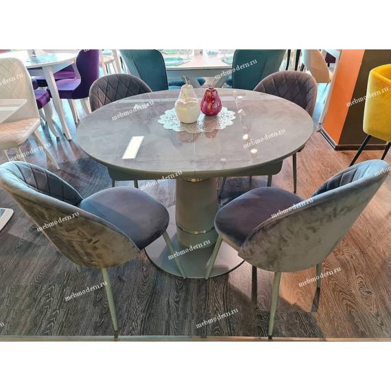 Стол Kenner BR1100 серый/стекло камень серый
