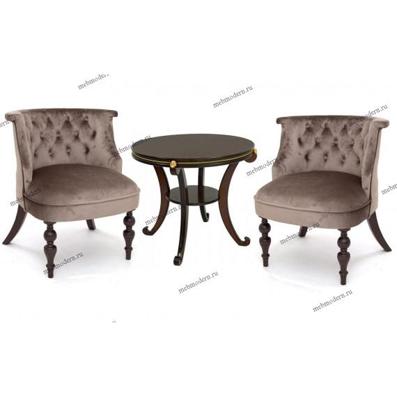 Комплект для гостиной 2 кресла Бархат и столик Глория М орех