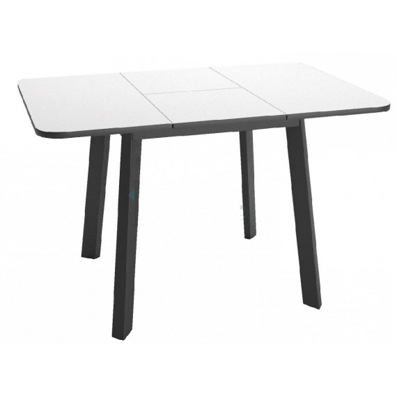 Стол Dikline UNIS 14 стекло белое/опоры черные