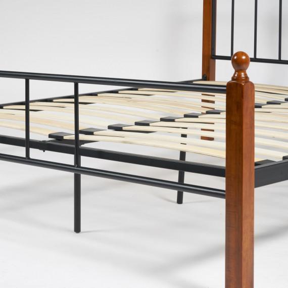 Кровать AT-915 Wood slat base (Queen bed), красный дуб/черный