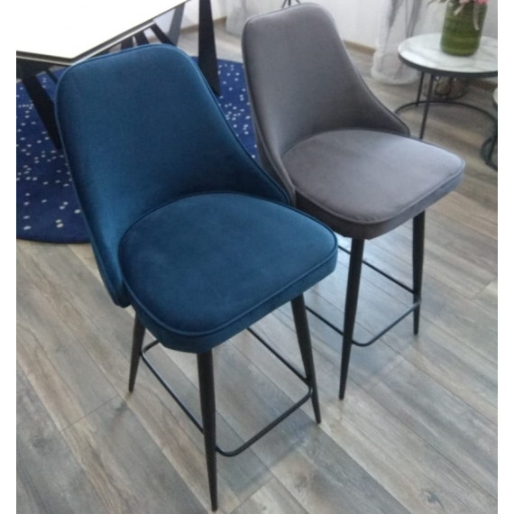 Полубарный стул NEPAL-PB СИНИЙ #29, велюр/ черный каркас (H=68cm)