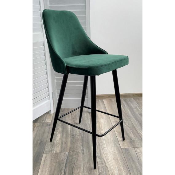 Полубарный стул NEPAL-PB ЗЕЛЕНЫЙ #19, велюр/ черный каркас (H=68cm)