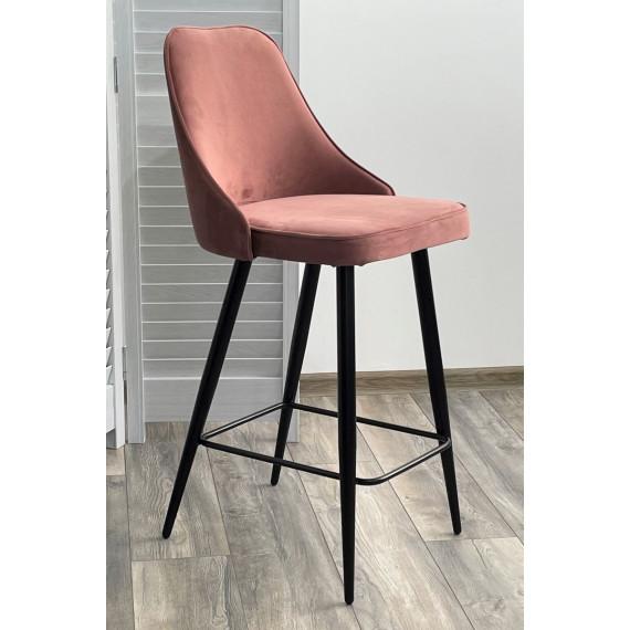 Полубарный стул NEPAL-PB РОЗОВЫЙ #15, велюр/ черный каркас (H=68cm)