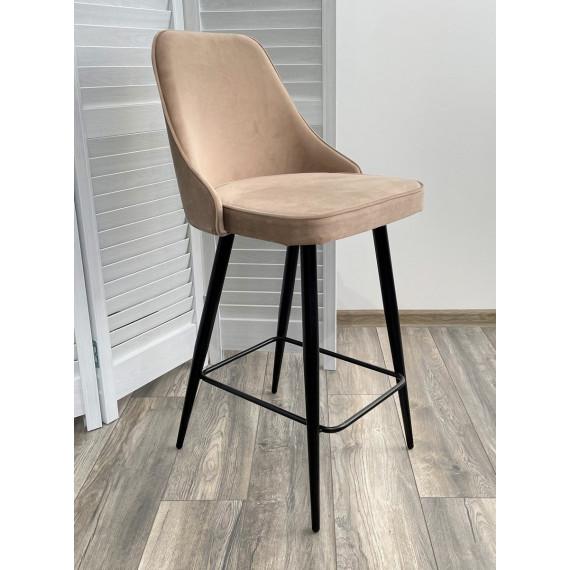 Полубарный стул NEPAL-PB БЕЖЕВЫЙ #5, велюр/ черный каркас (H=68cm)